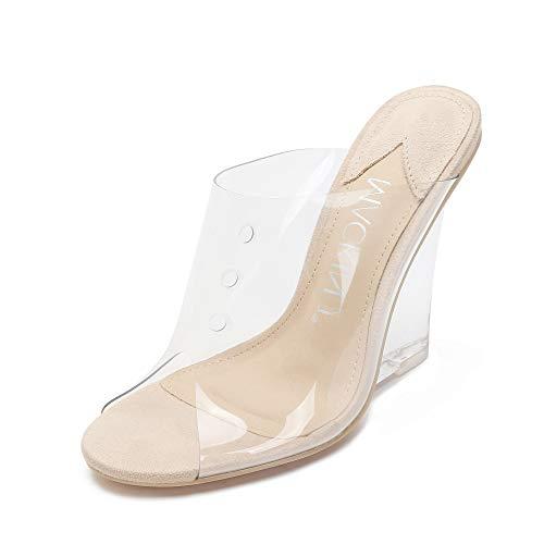 MACKIN Women's Clear Wedge Sandals Open Toe Slip On