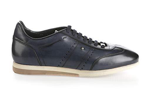 Roberto Serpentini Blue Leather Italian Designer Men Sneakers