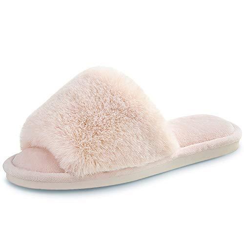 Women's Faux Fur Slippers Fuzzy Flat Spa Fluffy