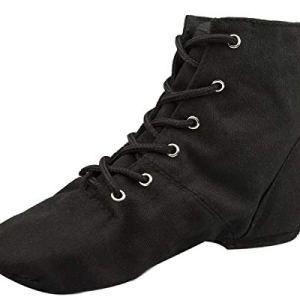 NLeahershoe Lace-up Canvas Dance Shoes