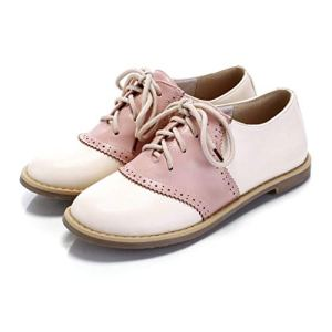 Women's Two Tone Saddle Oxfords Casual Flat Shoes Pink