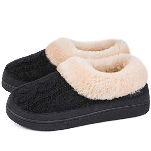 Shoes Warm Fuzzy Plush Winter Slipper with Anti-Skid Rubber
