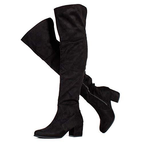 Paris-25 Women's Block Heel Pullon Over The Knee Boots