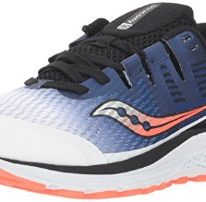 Saucony Boy's Ride ISO Sneaker, White/Blue/Vizi red