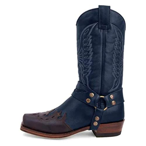 Men Western Cowboy Knight Boots Side Zipper Tall Boots