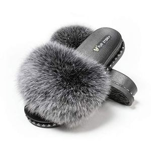 Fur Story Fur Slides Slippers Furry Fuzzy