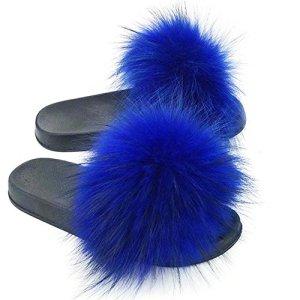 Manka Vesa Womens Winter Luxury Real Raccon Fur Slippers