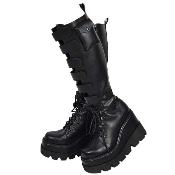 Womens Wedge Platform Over The Knee Boots