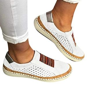 Women's Fashion Sneakers Sewing Perforated Slip on Flats