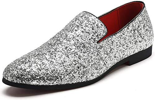 Slipper Metallic Sparkling Glitter Tuxedo Slip on Dress Shoes