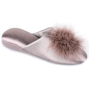 Satin Memory Foam Mule Slippers with Fluffy