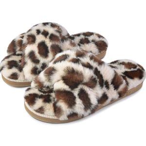Cross Band Leopard Soft Plush Furry Fleece Slippers Slip