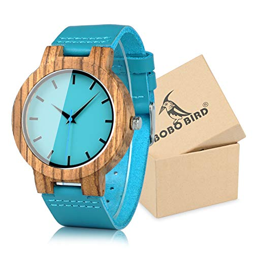 BOBO BIRD Men's Bamboo Wooden Watch with Blue Cowhide Leather Strap