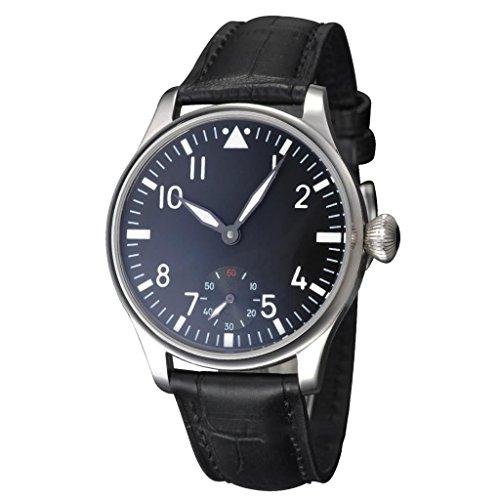 Fanmis Black Dial Silver Hand Wind Mechanical Wrist Watch