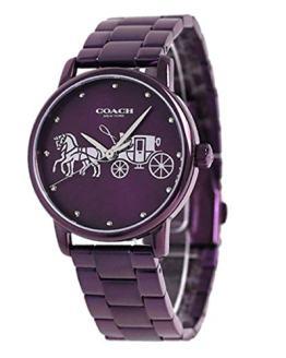Coach Women's Grand Purple Steel Bracelet & Case Quartz Watch