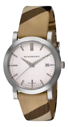 Burberry Women's Check Engraved White Dial Check Strap Watch