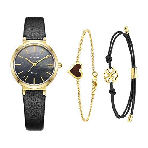 MAMONA Ladies Quartz Watch Bracelet Gift Set Black Leather Band