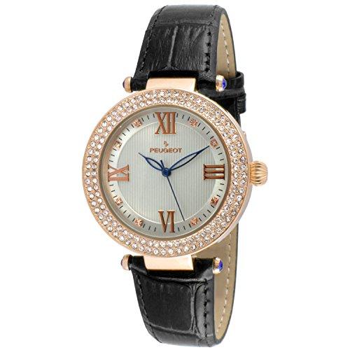 Peugeot Women's 'Luxury 14k Rose Gold Plated Black Watch