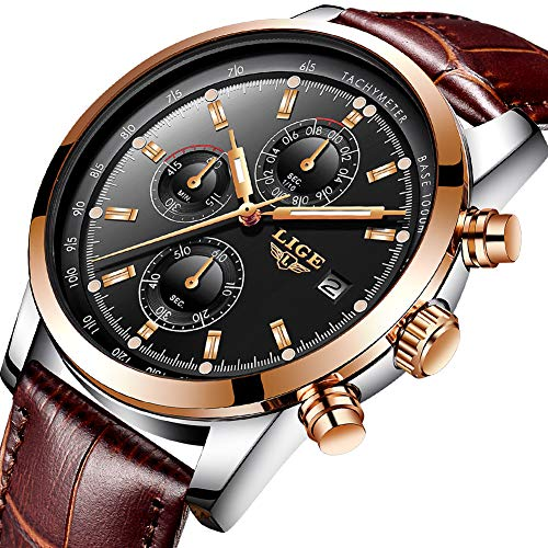 Watches Mens,Analog Quazrt Waterproof Watch Leather