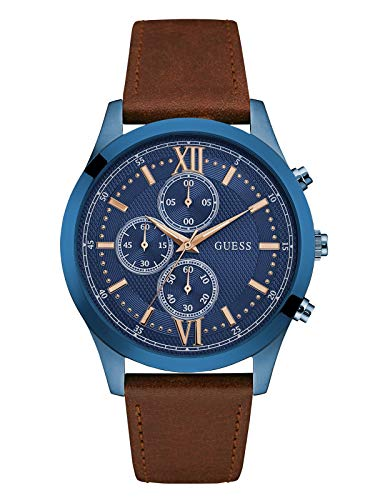 GUESS Men's Stainless Steel Leather Casual Watch