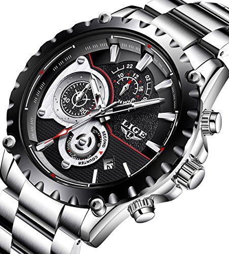 Mens Watches Full Steel Waterproof Sport Analog Quartz Watch Men