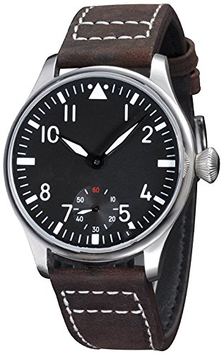 Fanmis Black Dial Luminous Dark Brown Leather Strap Wrist Watch