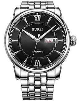 BUREI Automatic Watches for Men Stainless Steel Skeleton Wrist Watch