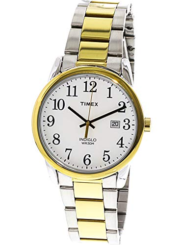 Timex Men's Easy Reader Two-Tone/White Stainless Steel Bracelet Watch