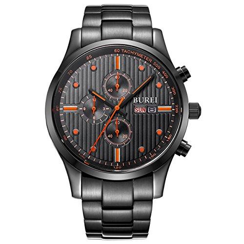 BUREI Mens Analog Multifunction Chronograph Stainless Steel Watch
