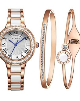 MAMONA Women's Watch Bracelet Gift Set Crystal Accented Ceramic