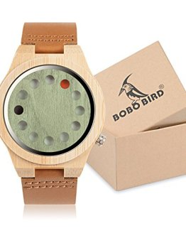 BOBO BIRD Mens Bamboo Wood Watch 12 Holes Timer Unique Design