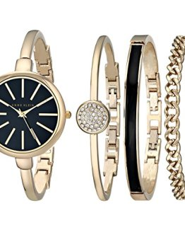 Anne Klein Women's Gold-Tone Watch and Bracelet Set