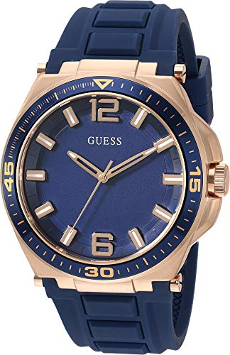 GUESS Men's Quartz Stainless Steel and Silicone Watch
