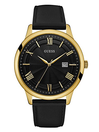 GUESS Men's Leather Casual Watch, Color: Gold-Tone/Black