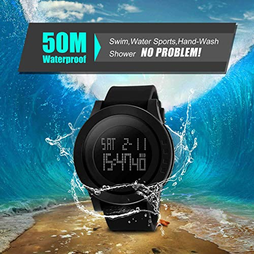 Men's Digital Sports Wrist Watch Screen Large Face Electronics Military Watches  Men's advanced game wrist watch with substantial face highlighting Waterproof, Chronograph Stopwatch, Alarm, Countdown, LED Night Light    Water Resistant 50M(164ft) 5ATM, Shock Resistant, 2 Timezone, 1/100 Stopwatch, 12/24H Time Format, Auto Calendar, Hourly Time Signal, LED Night Light Casual military open air plan and basic moderation style with agreeable silicone elastic watch band. Swim, shower, No Problem! Perfect for both indoor and outside games, for example, running, climbing, biking, angling, climbing, etc. Incredible present for companions and family 30 Days Free Refund and 1 Year Warranty. If you don't mind DONOT press any catches submerged, contact with steam and heated water >10min may abbreviate the watch lifespan   Aposon Men's Digital Sports Wrist Watch LED Screen Large Face Electronics Military Watches Waterproof Alarm Stopwatch Back Light Outdoor Casual Watch - Black Men's Digital Sports Wrist Watch LED Screen Large Face Electronics Military Watches Waterproof Alarm Stopwatch Back Light Outdoor Casual Watch - Black
