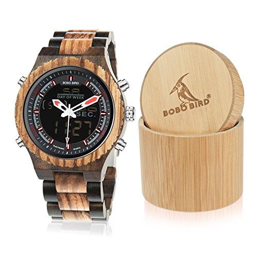 BOBO BIRD Wooden Watches Dual Display Quartz Watch for Men