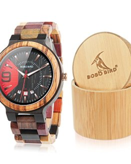 BOBO BIRD Men's Colorful Wooden Watches Analog Quartz Date Display Watch