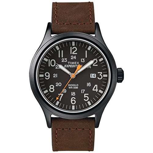 Timex Men's Expedition Scout Brown/Black Leather Strap Watch