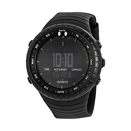 Suunto Core All Black Digital Display Quartz Watch, Black Elastomer Band