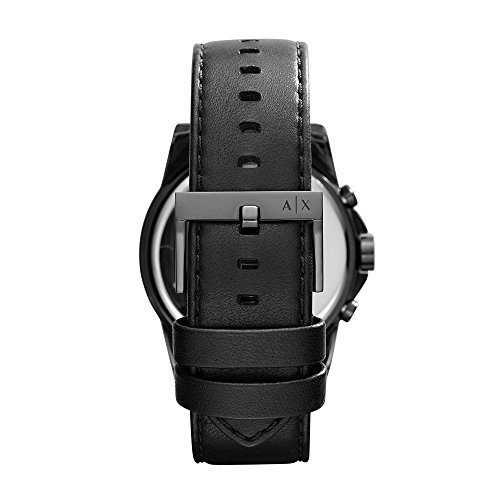 Armani Exchange Men's AX2098  Black  Leather Watch  Band Width: 22 mm    Case Size: 45 mm Analog-quartz Movement Case Diameter: 45mm Water Resistant To 165 Feet   An alluring men's Armani Exchange watch with a treated steel case and dark certifiable cowhide tie highlights record hour markers. It has a fixed gold plated bezel and simple showcase with moment markers around the external edge. It is scratch safe and 50 meters water resistant. Armani Exchange Men's AX2098 Black Leather Watch