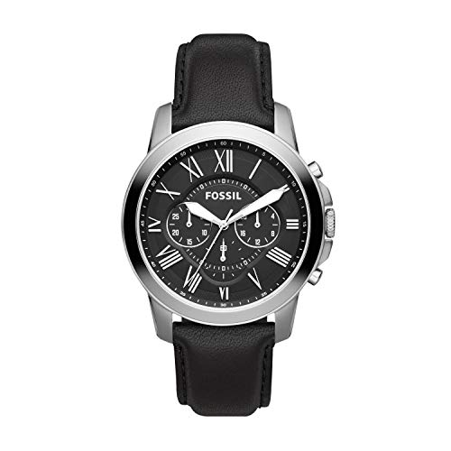 Fossil Men's Grant, Stainless Steel with Black Leather Strap Watch