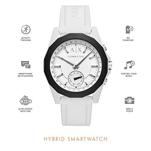 Armani Exchange Men's Hybrid Smartwatch, White Silicone, 44 mm