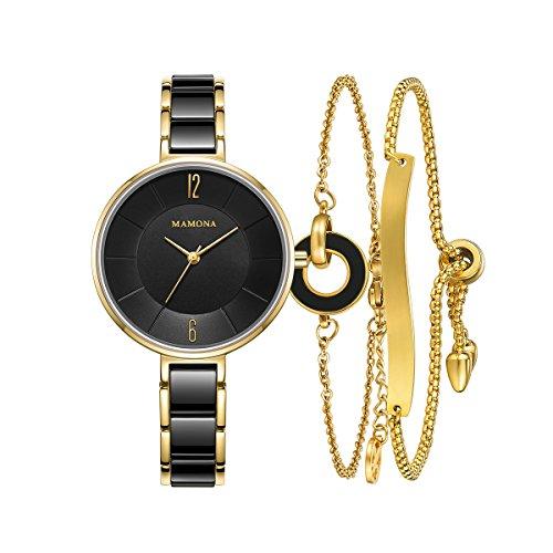 Ladies Quartz Watch Women bracelet set-MAMONA Gold Black