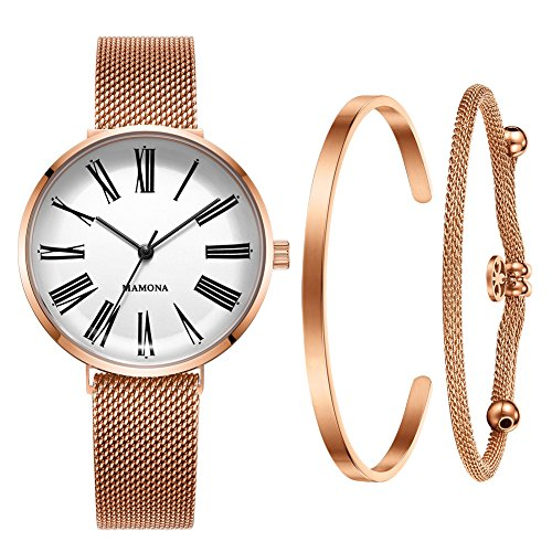 MAMONA Women's Mesh Rose Gold Strap Watch