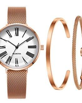 MAMONA Women's Mesh Rose Gold Strap Watch