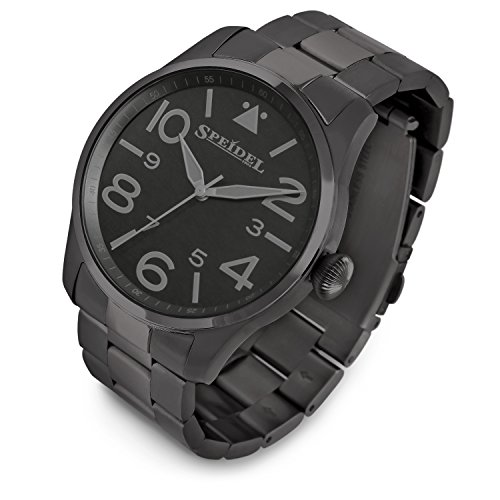 Speidel Black Pilot Watch with Stainless Steel Band