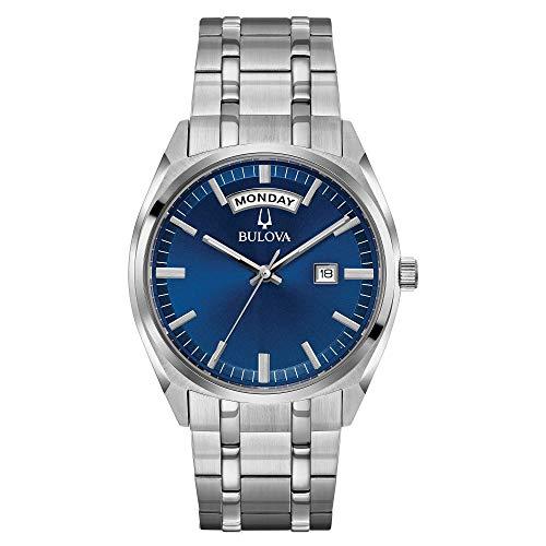 Bulova Men's Quartz Blue Dial Silver-Tone Bracelet Watch