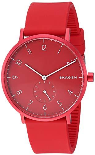 Skagen Aaren Kulør Stainless Steel Quartz Watch with Silicone Strap, red