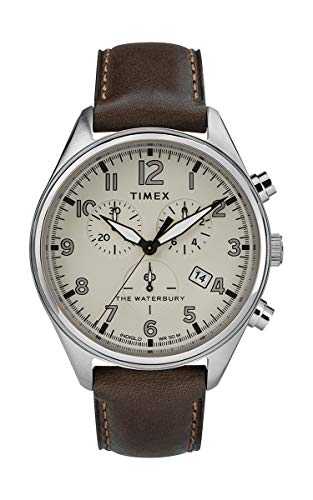Timex Waterbury Men's Traditional Leather Strap 42mm Chronograph Watch