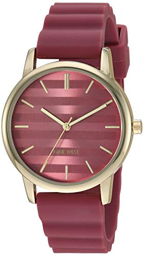 Nine West Women's Gold-Tone and Berry Red Silicone Strap Watch
